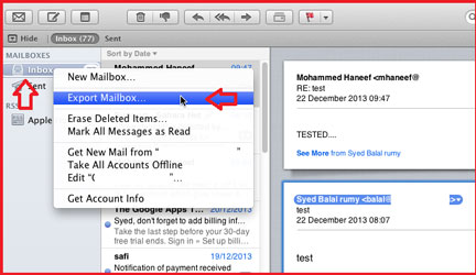 How to export mails from Mac